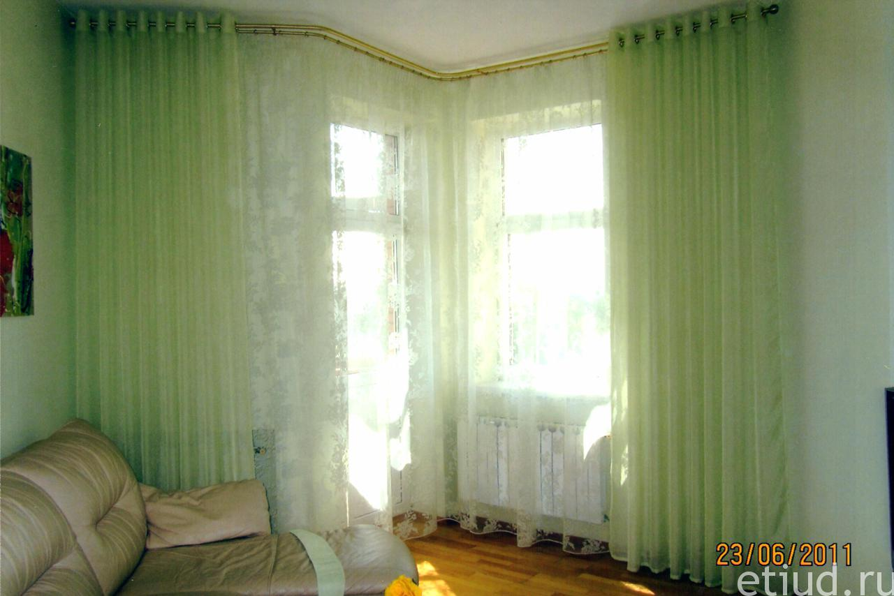 Дизайн штор на угловые окна