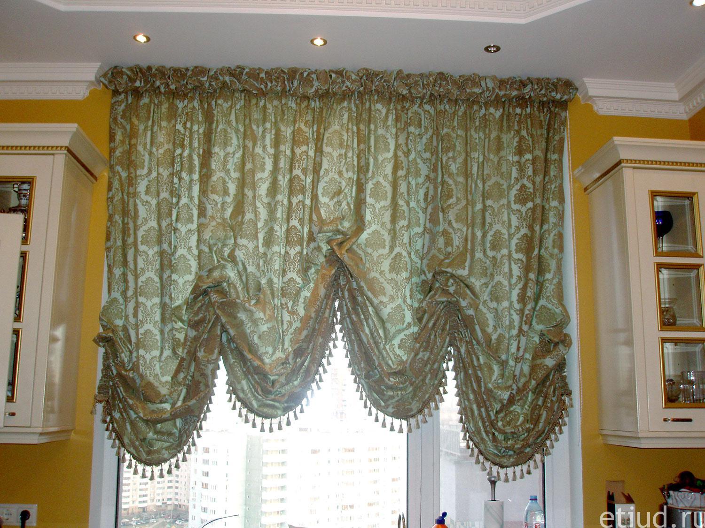 австрийская штора фото на кухню